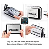 NETEDA Cassette Player, USB 2.0 Portable Tape to PC Super Cassette to MP3 Audio Music CD Digital Player Converter Capture + Headphone Software