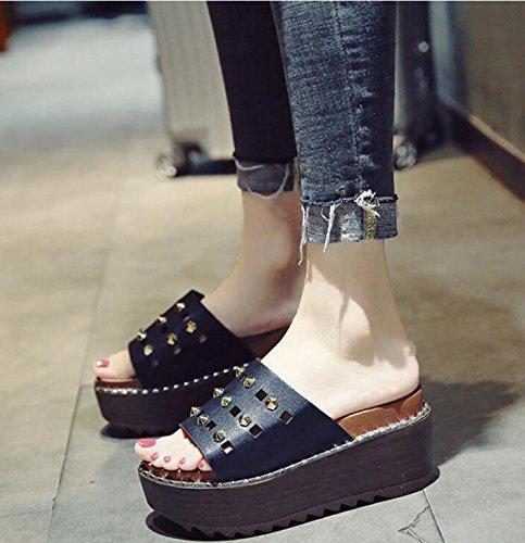 KHSKX-Hill Und Die Hausschuhe Sommer Weiblich Biskuitteig Frauen Schuhe Die Koreanische Version Des Dicken Elegant Und Vielseitig Verschleiß Nieten Coole High Heeled Hausschuhe 37