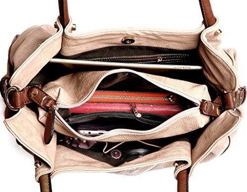 UTO Borsa Kit con 3 Donna Borse TOTE- Borse a Mano/Borse a Tracolla/Portafoglio,Utilizzato insieme o separatamente chiaro marrone