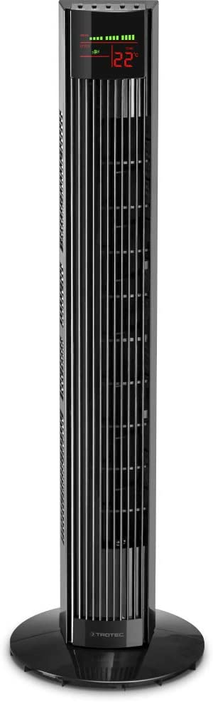 TROTEC Ventilador de Torre TVE 31 T / Mando a Distancia / Pantalla LED / Silencioso / 45 W / Negro / 3 Velocidades de Ventilación / Oscilación Automática de 60° / Temporizador / Base de Apoyo Estable
