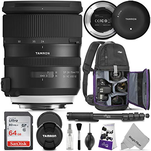 Tamron SP 24-70mm f/2.8 Di VC USD G2 Lens for Nikon F w/Tamron Tap-in Console and Advanced Photo and Travel Bundle (Tamron 6 Year Limited USA Warranty)
