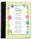 Rikki Knight Thank you to my Most Special Teacher Owl Whimsical Pastel Design Poem Notebook Portfolio Faux Suede (Notebook Included)
