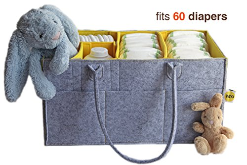 Baby Shower Gift Girls Storage Bins Large Baby Diaper Caddy Helps with Changing Table Nursery Storage Kids Toys Car Storage Diaper Bag Insert Organizer Portable Baby Storage Baskets (Hide Laundry Holder)