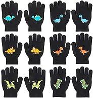 QKURT 6 Pairs of Children's Magic Gloves, Winter Thermal Gloves Full Fingers Kid's Gloves Dinosaurs Patter