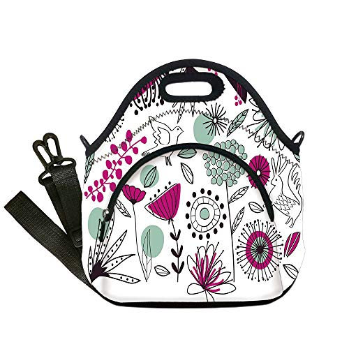 (Insulated Lunch Bag,Neoprene Lunch Tote Bags,Floral,Doodle Flowers and Animals Cartoon Style Drawing Spring Season Theme,Reseda Green Magenta Black,for Adults and children)
