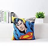 Blue Red Superman Print Pillow Case Movie Superhero Throw Pillow Cover Comic Hero Superman Logo Pillowcase Decorative Kids Cartoon Printed Sofa Cushion Covers, Soft Comfy Cotton Linen, 18''x18''