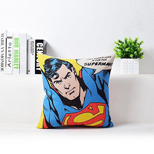 Blue Red Superman Print Pillow Case Movie Superhero Throw Pillow Cover Comic Hero Superman Logo Pillowcase Decorative Kids Cartoon Printed Sofa Cushion Covers, Soft Comfy Cotton Linen, 18''x18''