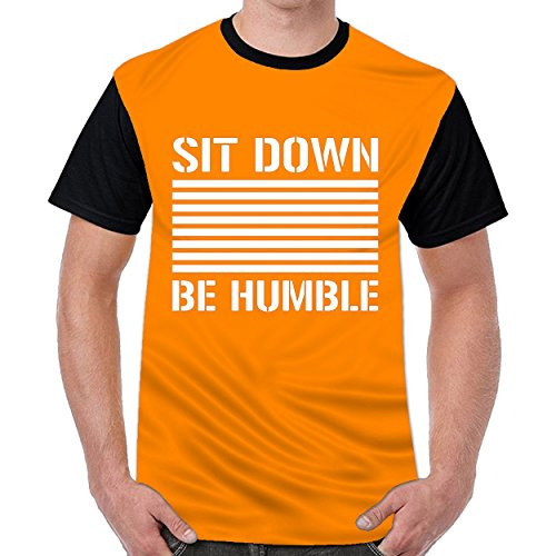 Tstory Sit Down Be Humble Mens Casual O-Neck T Shirt Top Blouse Shirt Orange