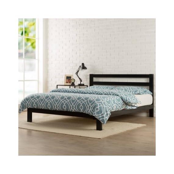 "Zinus Modern Studio 10"" Metal Platform Bed with Headboard (King) - Twin dimensions: 76.57""L x 38""W x 36""H; weight: 60.91 lbs Full dimensions: 76.57""L x 54""W x 36""H; weight: 84.92 lbs Queen dimensions: 81.57""L x 60""W x 36""H; weight: 92.00 lbs - bedroom-furniture, bedroom, bed-frames - 51s9jP5kUbL. SS570  -"