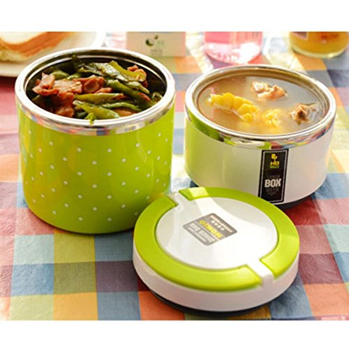 2 layer cute japanese style stainless steel lunch box insulation bento food p. Black Bedroom Furniture Sets. Home Design Ideas
