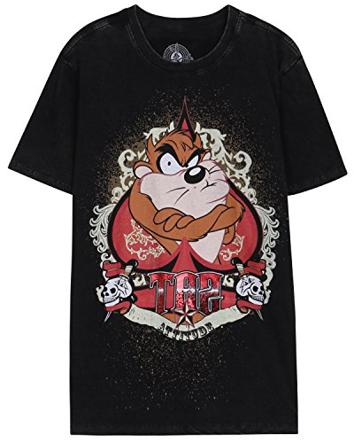ililily Washed Cotton Warner Bros The Looney Tunes Taz Graphic Print T-shirts Top (tshirts-282-1-M)