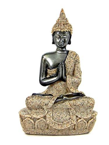 Thai Buddha Meditating Peace Harmony Polystone Statue, 3.5