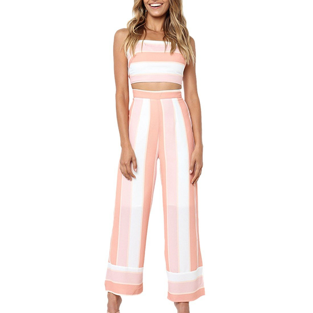 Women's Casual Wide Leg Jumpsuits Pants Two Pieces Blouse Sleeveless Top 3012S7487