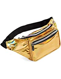 8cdccc24dbbc 80s Holographic Rave Gold Fanny Pack For Festival Women Girls Cute Fashion Waist  Bag Belt Bags