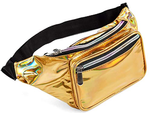 80s Holographic Rave Gold Fanny Pack For Festival Women Girls Cute Fashion Waist Bag Belt Bags -
