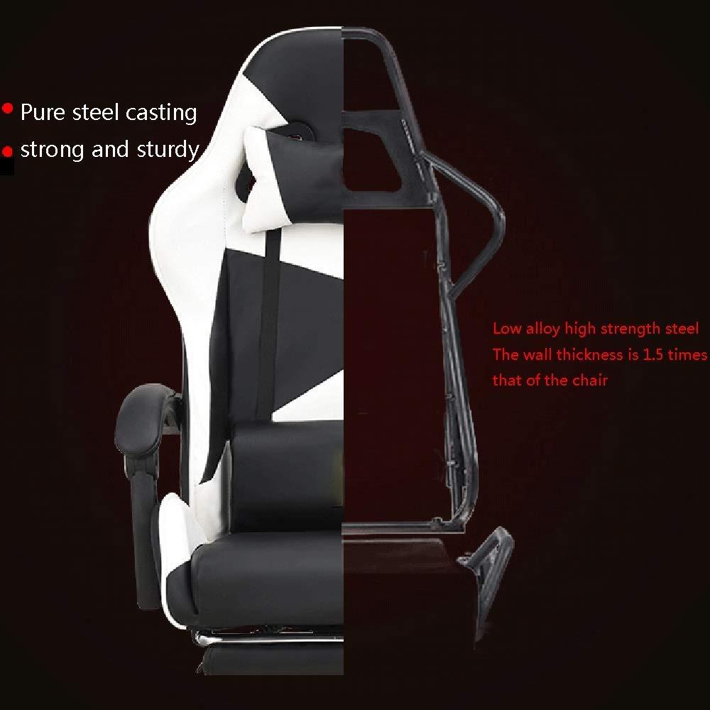 JIEER-C Stol Liggande kontorsskrivbordsstol, med fotstöd ergonomi E-sport spelstol hög rygg dator spelstol med nackstöd och ryggstöd, svart röd blå vit