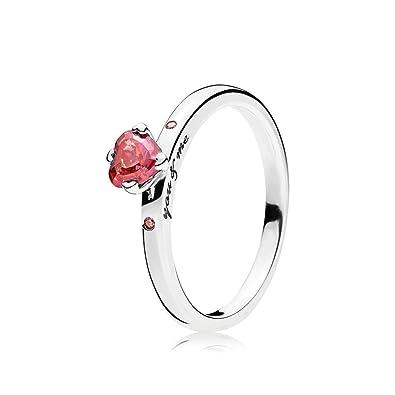 Bague femme Pandora en Argent avec cœur rose au centre en zirconium