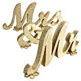 Cheap SROOD 30″ x 6″ Mr and Mrs Sign Wedding Decorations Mr & Mrs Sign Sweetheart Wedding Table Decorations Wooden Letters Gold Glitter