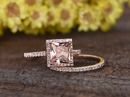 2PCS Wedding Ring Set, 8mm Princess Cut VS Pink Morganite Solid 14k Rose Gold Diamond Halo Ball Prong Engagement Ring Half Eternity Pave Set Stacking Matching Bridal Wedding Band (Round Vs Princess Cut)