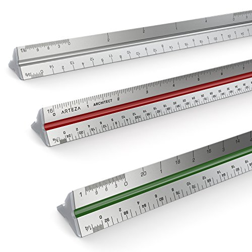 Arteza 12 Triangular Architect Scale Aluminum Color-Coded Grooves (Imperial)