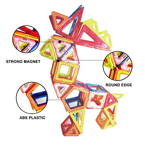 GLOUE Magnetic Building Blocks-64 PCS Kids Magnet Toys Construction Building Tiles for Creativity Educational-Come with a Container Box 64pcs JJTGS