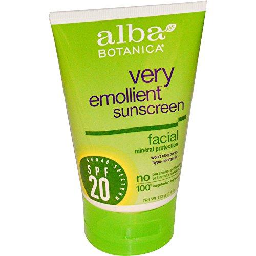 Alba Botanica, Very Emollient Sunscreen, Facial Mineral Protection, SPF 20, 4 oz (113 g) - (Alba Botanica Spf 20 Sunscreen)