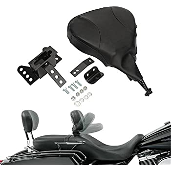 INNOGLOW Motorcycle Backrest Pad Black PU Detachable Adjustable Rider Driver Fit Harley Touring Models 1998-2008