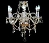 New Galaxy Lighting Crystal Chandelier Gold Finish 6-Light Pendant Ceiling Lamp