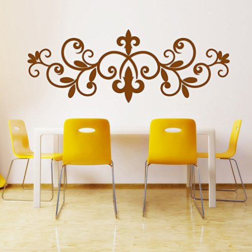 Fleur De Lis Wrought Iron Floral Design Wall Stickers Home Decor Art Decals available in 5 Sizes and 25 colors X-Large Royal - Wall Fleur Decal