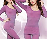 Dapengzhu New Fashion Breathable Warm Long Ladies Slim Underwears Sets bottoming Women tunic Winter Thermal Underwears 7001 Violet S