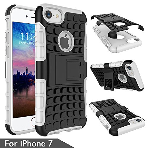 iPhone 7 Case, [Impact Resistant] [Shock Absorption] Detachable Heavy Duty Dual Layer Full Body Armor Case Cover Defender for iPhone 7 with KickStand - ArmorBox Black/White
