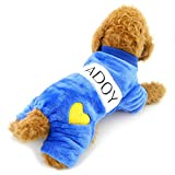 PEGASUS SELMAI Comfort Soft I Love Mommy Dadoy Dog Jumpsuits Fleece Heart Print Outfits Blue XL,for Small Dog Cat Puppy Pet