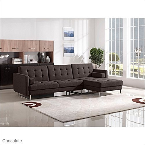 Opus Convertible Tufted RF Chaise Sectional by Diamond Sofa – CHOCOLATE