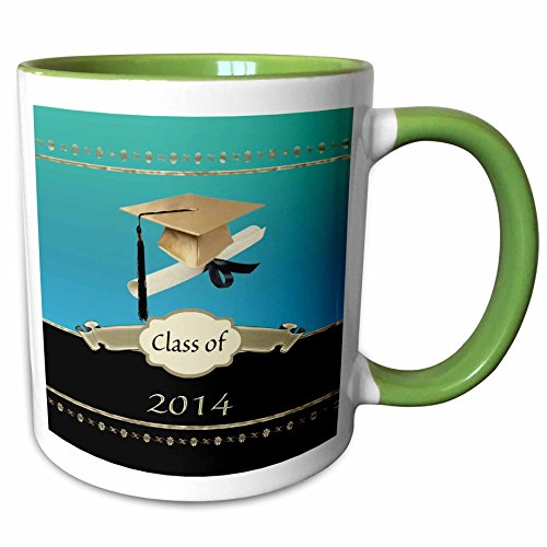 3dRose Beverly Turner Graduation Design - Gold Graduation Cap with Diploma with Gold Banner on Aqua and Black - 15oz Two-Tone Green Mug (mug_172591_12)