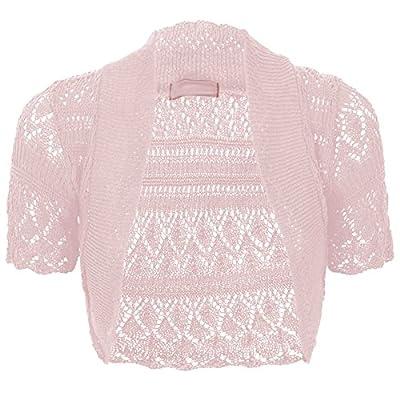 Thever Women Ladies Knitted Short Sleeve Crochet Shrug Bolero Cardigan SZ 8-26 at Women's Clothing store