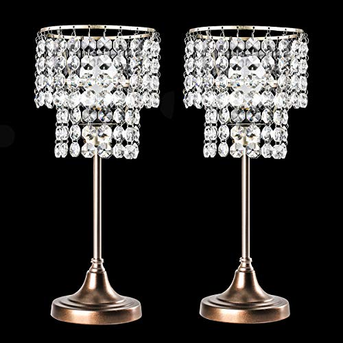 Pauwer Crystal Table Lamp Set of 2 Nightstand Lamp with Decorative Crystal Shade Bedside Desk Table Lamps for Living Room Bedroom (Antique Silver)