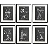 Idiopix Firefighter 01 Patent Wall Decor Chalkboard Art Print Set of 6 Prints UNFRAMED