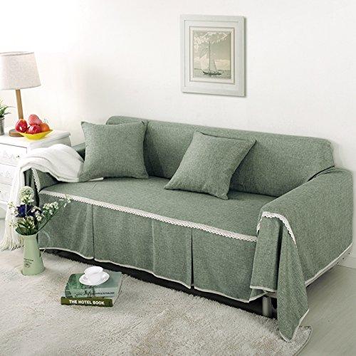 RUGAI-UE Sofa Slipcover Single double fabric living room sofa cover all sofa cloth round full color,Three seater 215x300cm,FM Beijing