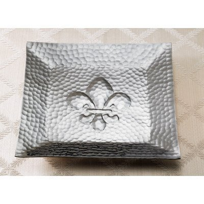 KINDWER Hammered Square Fleur-dis-lis Tray, Silver