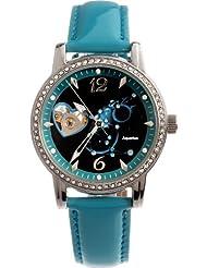 Time100 Constellation-Aquarius Genuine Leather Strap Mechanical Ladies Watch #W80050L.11A