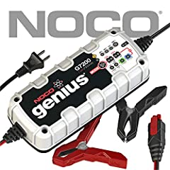 NOCO Genius Smart battery chargers are some of the safest and most advanced on the market. One of our best, the G7200 7.2 Amp is designed to charge 12-volt and 24-volt lead-acid and lithium-ion batteries up to 230Ah. It can also effectively m...