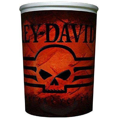 Harley Davidson Skull Wastebasket Red Orange