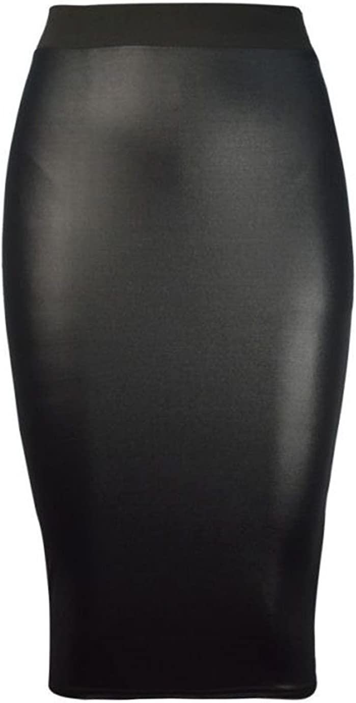 NAZ Fashion Womens Celebrity Inspired High Waisted Wetlook Bodycon Pencil Skirt