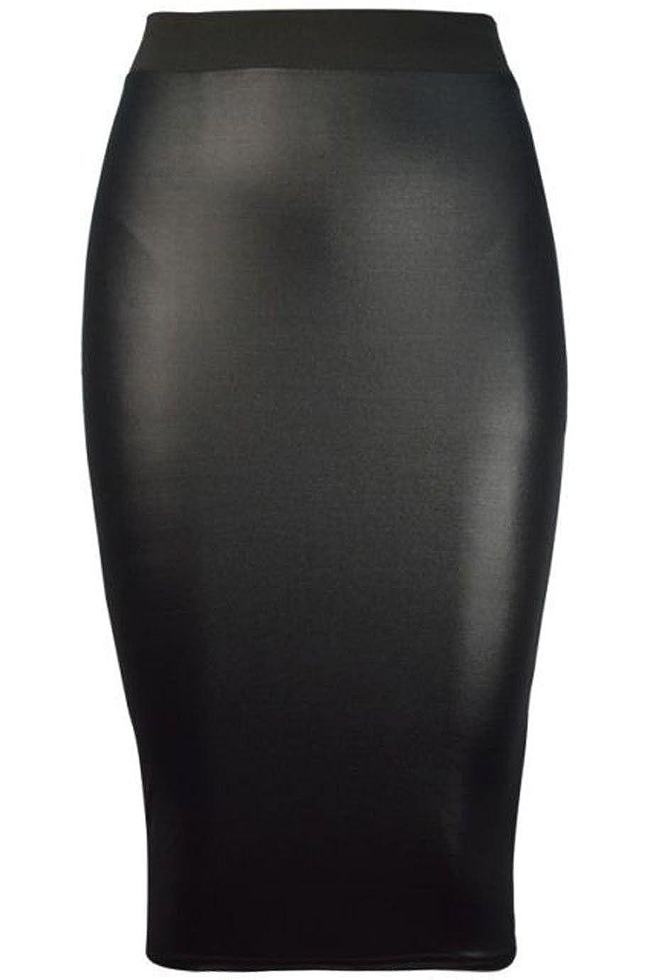 Forever Womens Celebrity Inspired High Waisted Wetlook Bodycon Pencil Skirt