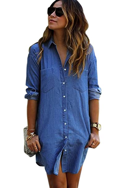 cfa59b9889368 KINDOYO Mujeres Manga Larga Camisas Vaquero - Fashion Primavera Otoño Camisa  de Jean con Botones Color