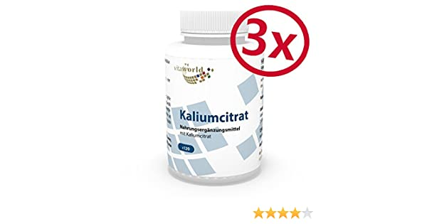 Pack de 3 Citrato de Potasio 605mg dosis diaria 3 x 120 Cápsulas Vegetales - Vita World Farmacia Alemania