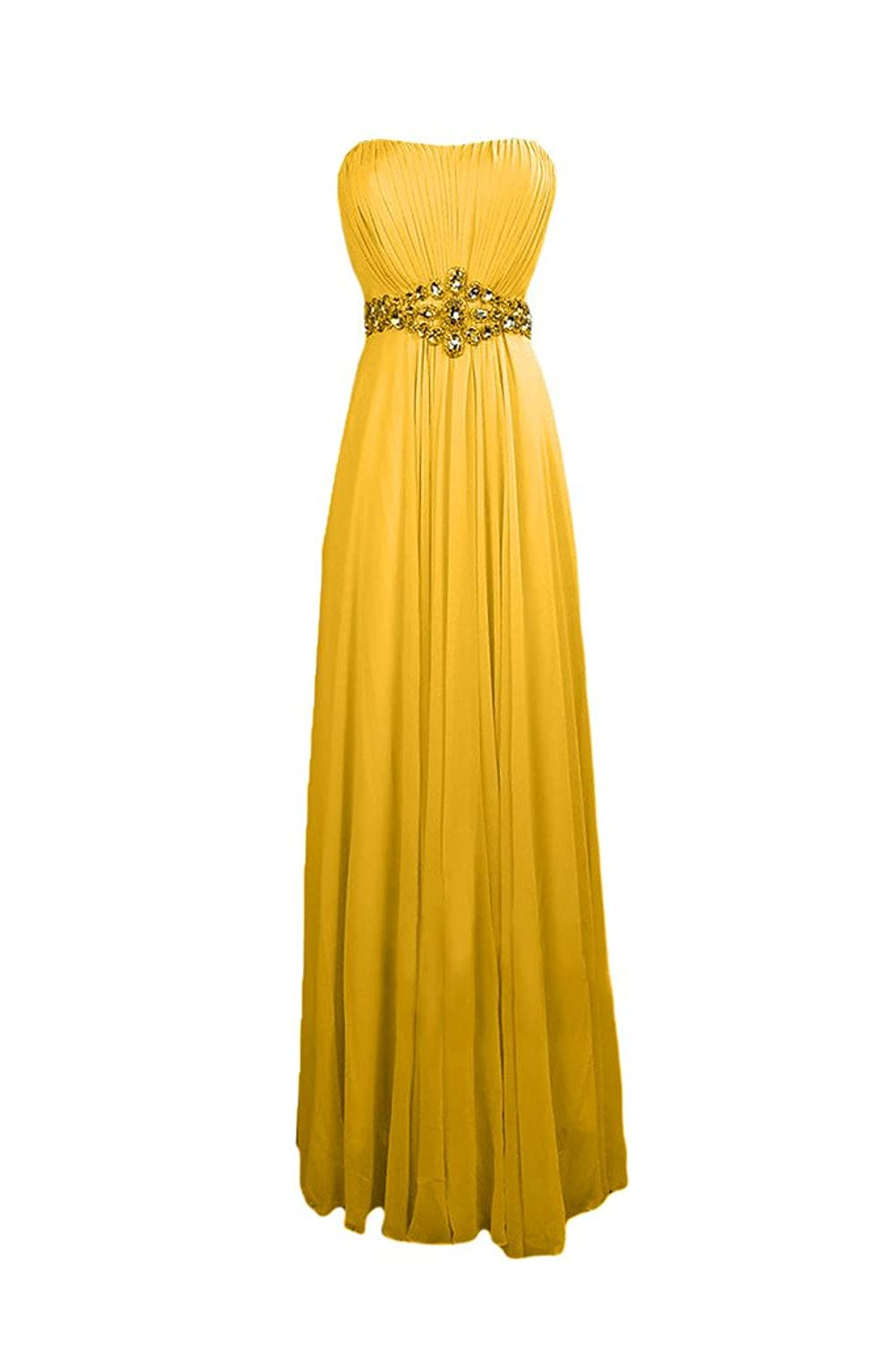 Sunvary Elegant Chiffon Long A-line Strapless Evening Prom Dresses