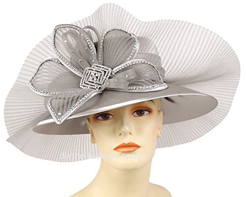 Ms. Divine Collection Women's Hats, Church Hat, Dressy Formal Hats #HL61 (Silver) by Ms. Divine Collection