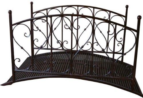 Gartenbrücke Teichbrücke Metallbrücke Gartenteichbrücke Brücke mit Geländer Metall in Antik-Optik Gartendeko Gartenverzierung