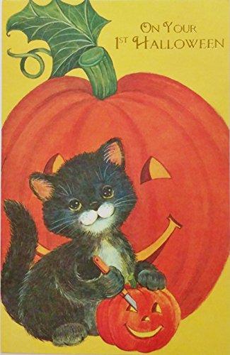 Pumpkin Cards Halloween Note (On Your 1st Halloween Greeting Card w/ Pumpkin & Black Cat -